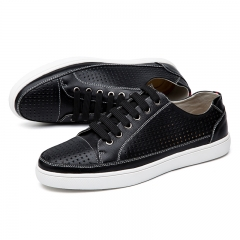 Men Vintage Genuine Leather Shoes Flat Lace Up Male Casual Footwear black 39