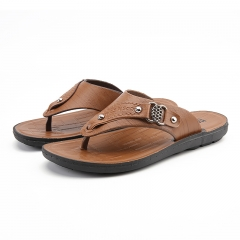 2017 New Summer Cool Men Flip Flops British Style Beach Sandals Non-Slide Male Slippers brown 39