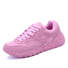 Womens Outdoor Sport Light Running Shoes Lace Up Breathable Sneakers Anti Collision PU Leather Shoes pink 35