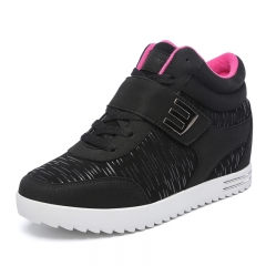 Female Casual Shoes 2017 Autumn Winter New Fashion High-Top Women Shoes Comfort Heighten Shoes black 35