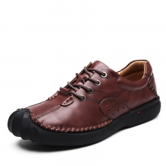 Genuine Leather Men Shoes Casual Handmade Autumn Winter Warm Men Flats Shoes Vintage Style brown 39