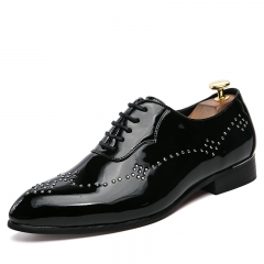 Luxurious Fashion Mens Oxfords Vintage Dress Shoes Party Shoe Man Flats Derby Shoes black 39