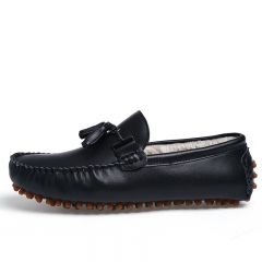 Gentleman Leather Men Casual Shoes Driving Tassel Loafers With Fur Warm Winter Leisure Moccasins black 39