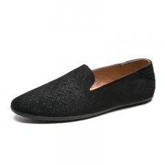 Suede Leather Men Casual Loafers Slip-on Gentlemen Moccasins Soft Flat Boat Shoes Dress Slipper black 39