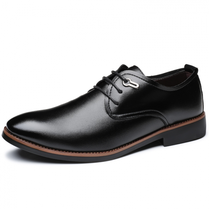 Business Dress Men Formal Shoes Pointed Toe Fashion Leather Office Shoes Flats Oxford Shoes For Men black 39
