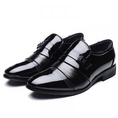 Leather Black Mens Dress Shoes Oxford Shoes For Men Slip On Office Business Men Shoes black 42