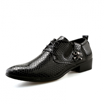 Mens Leather Lace-Up Dress Business Shoes Man Skull Printed Casual Party Flats Men's Driving Oxfords black 39