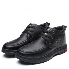 Men Winter Snow Boots Business Keep Warm Plush Ankle Boot Work Shoes Men's Outdoor Cotton black 39