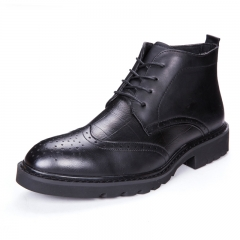 Men's Formal Business Dress High Top Oxfords Boots For Men Designer Luxury Wingtip Shoes Gentlemen black 38