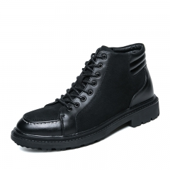 Autumn Winter Men Dress Boots Keep Warm Snow Boots Genuine Leather Formal Shoes Height Increasing black 38