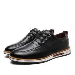 British Men Formal Dress Business Shoes Brogue Flats Male Office Working Cow Leather Oxford Leisure black 38