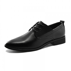 Men Dress Shoes Pointed Toe Lace Up Men's Business Casual Shoes Brown Black Leather Oxfords Shoes black 39