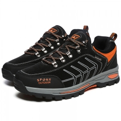 Trekking Shoes for Men Hiking Shoes Leather Mountain Outdoor Shoes Breathable Climbing Footwear black 39