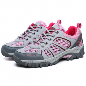 Trekking Shoes for Women Hiking Shoes Leather Mountain Outdoor Shoes Breathable Climbing Footwear pink 36