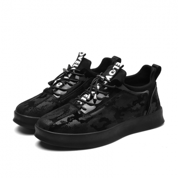 Winter Design Fashion Breathable Mens Causal Shoes Lace Up Comfort Men Shoes Leisure Walking Flats black 39