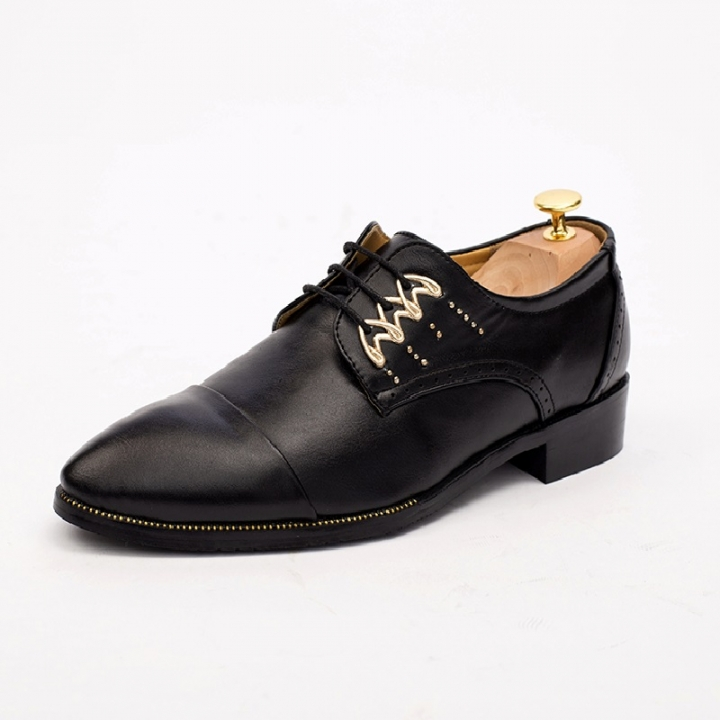 Spring Autumn Handsome Men Formal Shoes Luxury Men Business Dress Shoes  Loafers Pointy Footwear black 38