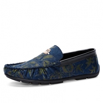 Flower Print Men's Flats Casual Leather Shoes Moccasins Men Loafers Slip On Male Driving Shoes blue 39