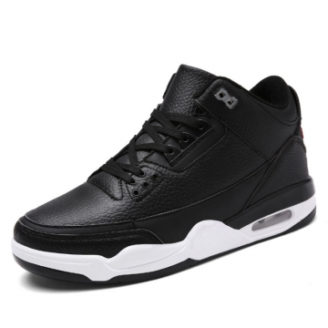 Big Size Men's Air Cushion Basketball Shoes Breathable High Top Sneaker Sport Running Shoes black 39