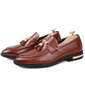 Tessel Decorate Male Genuine Leather Shoes Formal Men Wedding Dating Shoes Brown brown 43