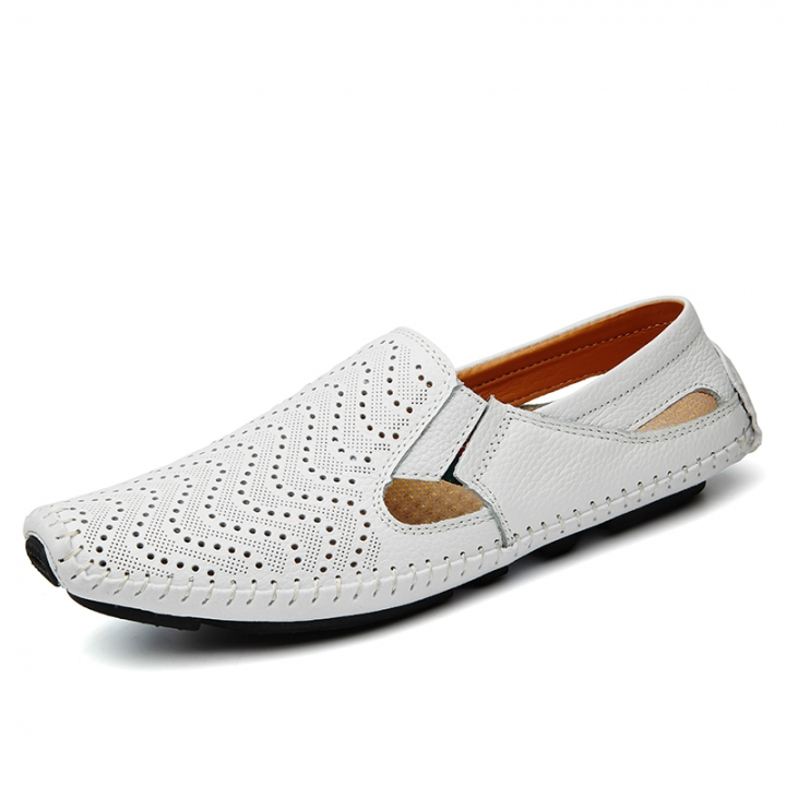 Big Size Summer Men Driving Shoes Genuine Leather Hollow out Quality Soft Men Loafers Comfortable white 46