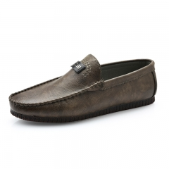 Autumn Stylish High Quality Leather Men Loafers Slip-On Casual Shoes Man Luxury Driving Shoe Cool brown 39