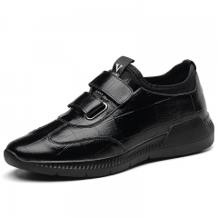 Genuine Cow Leather Men Running Sneakers Wear-resistant Breathable Jogging Shoes Comfortable black 38