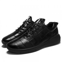 Plaid Real Leather Spring Autumn Men's Sneakers Trending Style Sports Shoes Breathable Trainers Good black 38