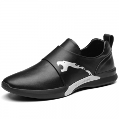 Trendy Genuine Cow LeatherBrand Men Casual Shoes Spring Breathable Male Athletic Shoes Trainer Sport black 38
