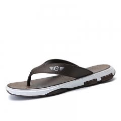 New Summer Men Flats Sandals Beach Flip Flops Beach Slippers Shoes For Men Outdoor Rubber brown 40