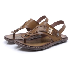 Summer Men Casual Sandals Shoes Breathable Soft Male Beach Shoes Super Non-slip Flip Flops brown 38