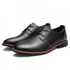 Elegant Men Genuine Cow Leather Dress Shoes Luxury Men's Business Casual Classic Gentleman black 38