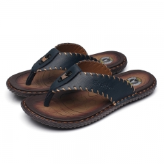 Men Sandals Genuine Split Leather Men Beach Sandals Brand Men Casual Shoes Flip Flops Men Slippers blue 38