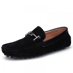 Elegant Horsebit Loafers Urban Men Driving Shoes Luxury Summer Men Suede Cow Leather Shoes Cool black 39