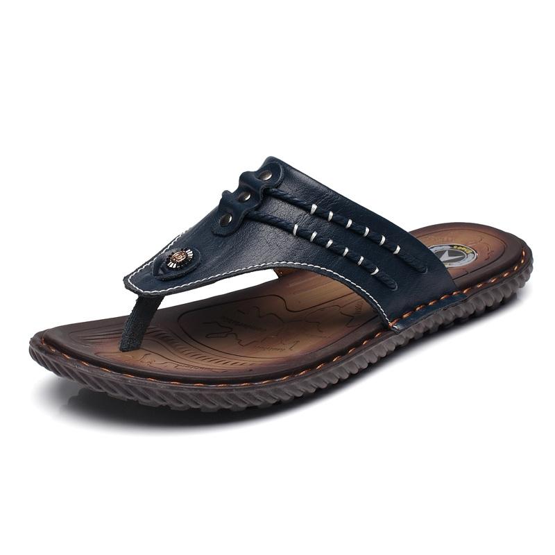 a6c8a60af34a Summer Men Sandals Split Cow Leather Men Beach Sandals Men Casual ...