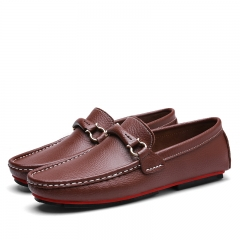 Business Horsebit Loafers Male Urban Men Driving Shoes Summer Man Slip On Boat Shoes Soft Leather brown 39