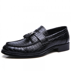 Leather Men Dress Shoes Tassel Boat Shoes Formal Classic Loafers Slip On Moccasins England Flats black 37