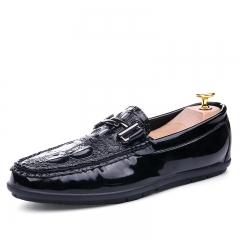 Spring Loafers Men Shoes Casual Slip On Flats Shoes Men Mocassin Men Driving Formal Loafers black 39