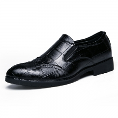 Luxury Gentleman Leather Men Shoes Men Dress Slip On Formal Oxford Business Shoes Handsome Cool black 38