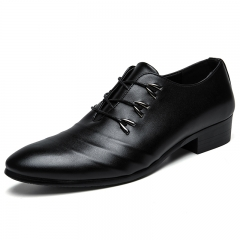 Spring Autumn Men Formal Wedding Shoes Luxury Men Business Dress Shoes Oxfords Pointy black 38