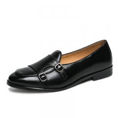 Leather Men Formal Shoes Party Pointed Toe Weddings Monk Strap Men Dress Shoes black 38