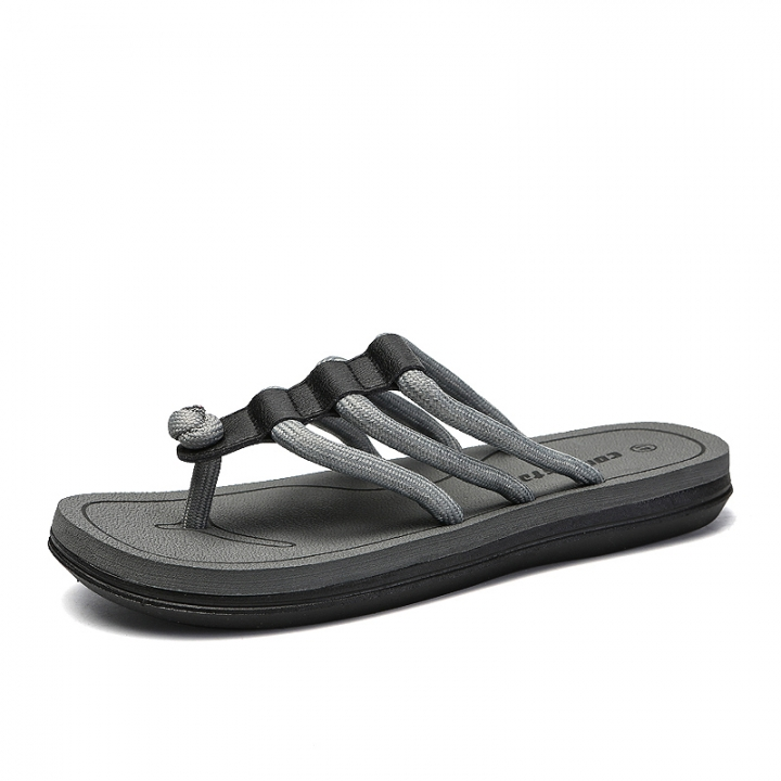 Summer Outdoor Casual Men Slippers Open-toed Sandals Slides Lace Up High Quality Beach Shoes grey 37