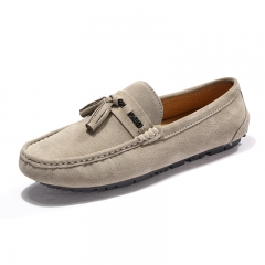 Men Casual Suede Leather Loafers Solid Leather Driving Moccasins Slip on Leisure Handsome khaki 38