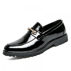 Men Dress Italian Leather Shoes Slip On Fashion Men Moccasin Formal Male Shoes Pointed Toe black 38