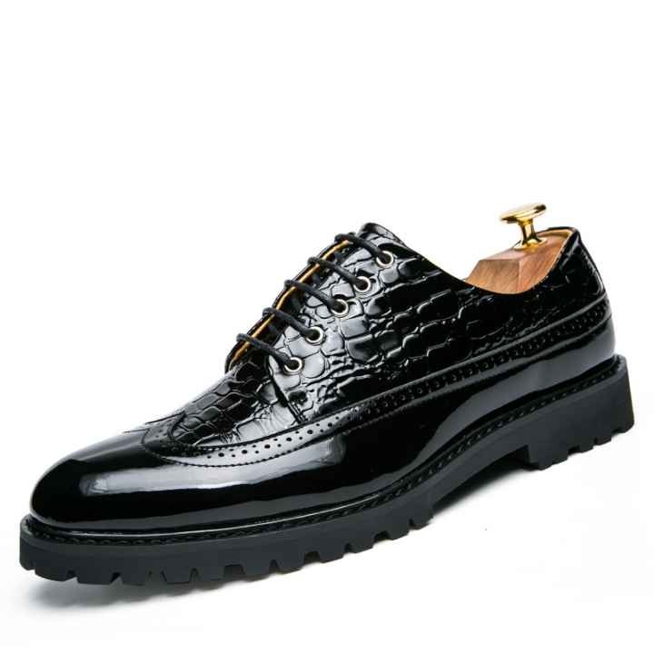 New Lace Up Men Leather Shoes Wedding Wingtip Brogue Formal Dress Shoes Party Office black 38