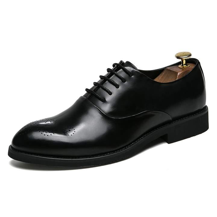 New Design Formal Mens Leather Flat Business Shoes Mens Dress Brogues Oxfords Handsome black 38