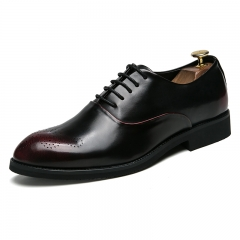 New Design Formal Mens Leather Flat Business Shoes Mens Dress Brogues Oxfords Handsome red 45