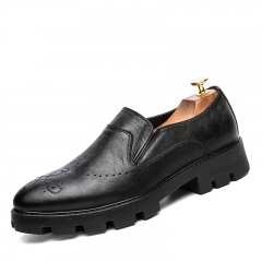 Business Dress Men Formal Shoes Wedding Pointed Toe Fashion PU Leather Shoes Flats Oxford black 38
