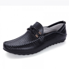 Summer Men Flat Shoes Quality Split Leather Men Loafers Solid Breathable Holes Slip-On Driving black 39