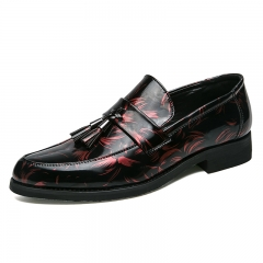 Office Gentlemen Men Formal Shoes Pointed Toe Business Patent Leather Oxford For Men Dress Shoes red 38