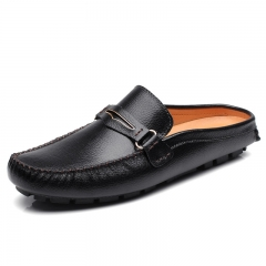 New Summer Men Driving Shoes Backless Loafers Open Backs Shoes Breathable Genuine Leather black 39